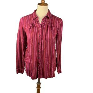 Maeve Button Down Shirt Size S Pink Maroon Striped